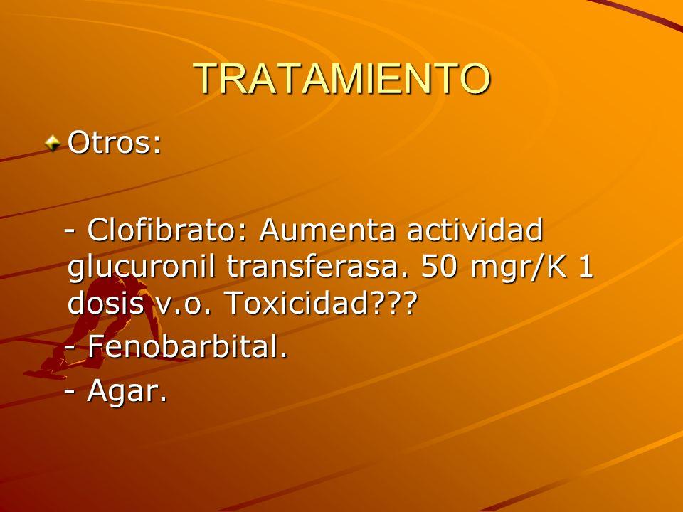 TRATAMIENTO Otros: - Clofibrato: Aumenta actividad glucuronil transferasa. 50 mgr/K 1 dosis v.o. Toxicidad??? - Clofibrato: Aumenta actividad glucuron
