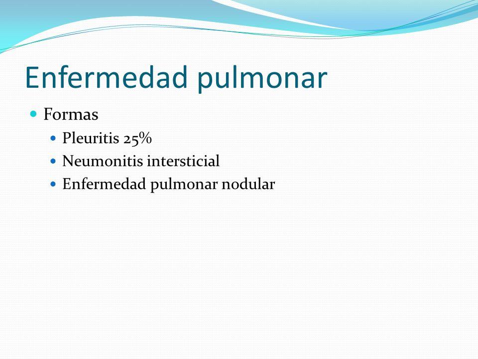 Enfermedad pulmonar Formas Pleuritis 25% Neumonitis intersticial Enfermedad pulmonar nodular