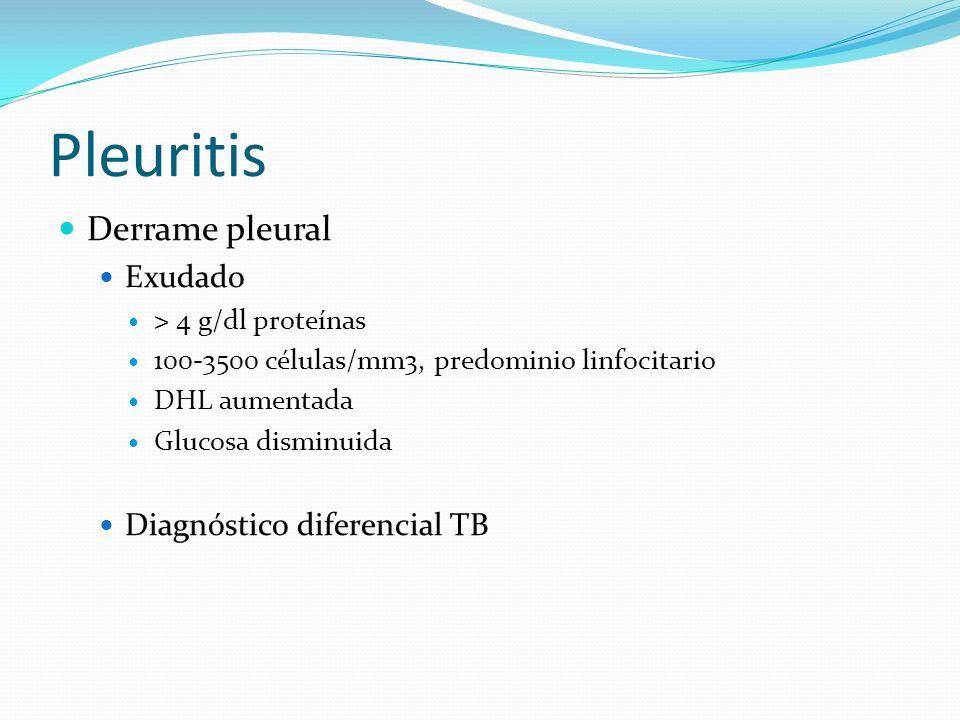 Pleuritis Derrame pleural Exudado > 4 g/dl proteínas 100-3500 células/mm3, predominio linfocitario DHL aumentada Glucosa disminuida Diagnóstico difere
