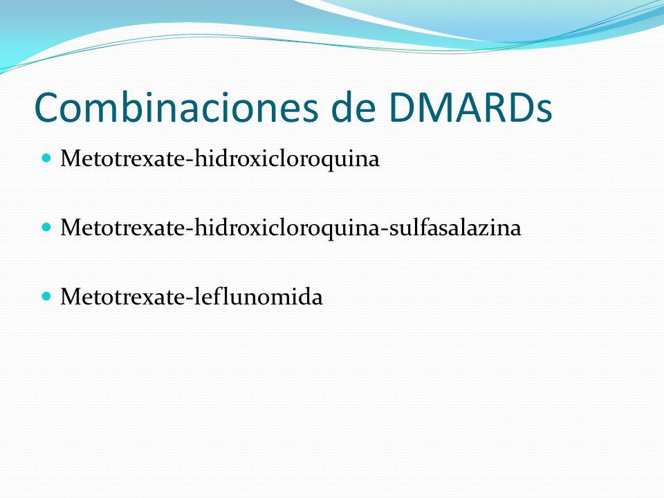 Combinaciones de DMARDs Metotrexate-hidroxicloroquina Metotrexate-hidroxicloroquina-sulfasalazina Metotrexate-leflunomida