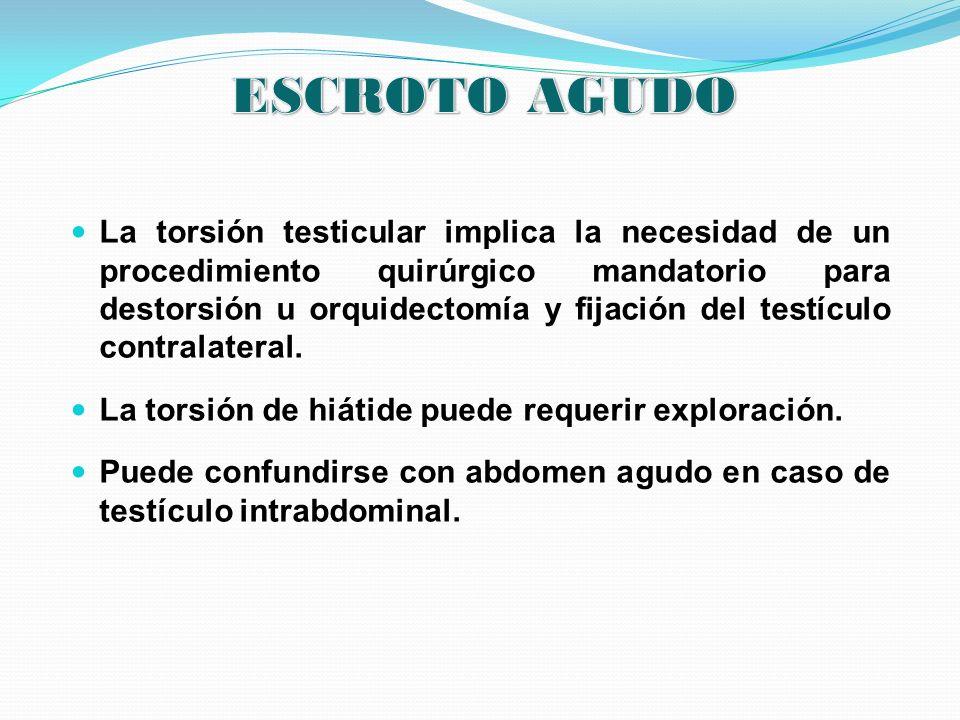 La torsión testicular implica la necesidad de un procedimiento quirúrgico mandatorio para destorsión u orquidectomía y fijación del testículo contrala
