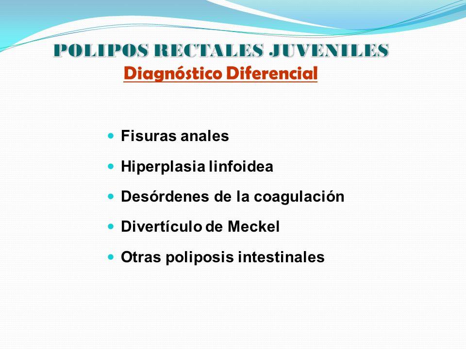Fisuras anales Hiperplasia linfoidea Desórdenes de la coagulación Divertículo de Meckel Otras poliposis intestinales
