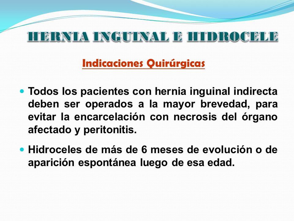 Indicaciones Quirúrgicas Todos los pacientes con hernia inguinal indirecta deben ser operados a la mayor brevedad, para evitar la encarcelación con ne
