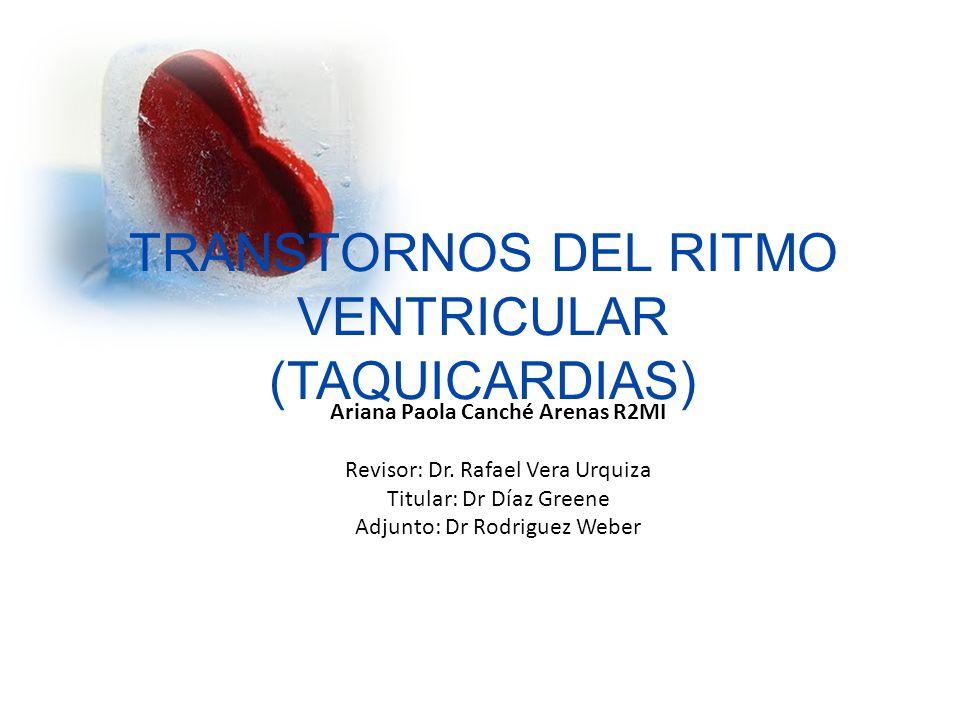 RITMO IDIOVENTRICULAR ACELERADO Se produce por un foco ectopico ventricular que descarga a Frecuencias cardiacas de 60 a 120 lpm Sinonimos: – Taquicardia Ventricular lenta – Taquicardia ideoventricular Caracteristicas : – QRS ancho > 0.12 – No ondas P – Ondas T contrarias al QRS – FC 40 a 100 lpm http://library.med.utah.edu/kw/ecg/ecg_outline/Lesson3/index.html Taquicardias Ventriculares