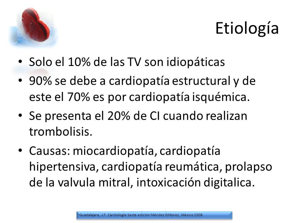 Etiología Solo el 10% de las TV son idiopáticas 90% se debe a cardiopatía estructural y de este el 70% es por cardiopatía isquémica. Se presenta el 20