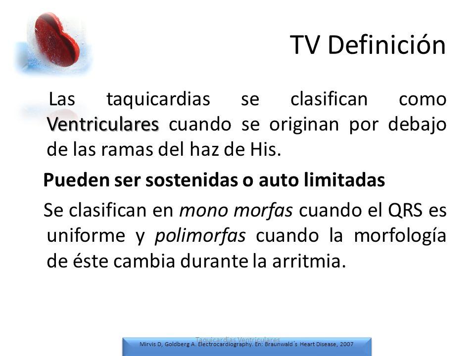TV Definición Ventriculares Las taquicardias se clasifican como Ventriculares cuando se originan por debajo de las ramas del haz de His. Pueden ser so