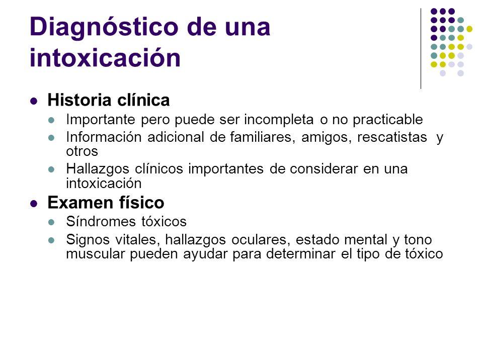 Diagnóstico de una intoxicación Historia clínica Importante pero puede ser incompleta o no practicable Información adicional de familiares, amigos, re