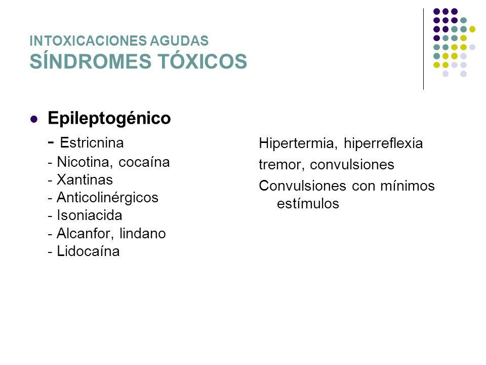 INTOXICACIONES AGUDAS SÍNDROMES TÓXICOS Epileptogénico - Estricnina - Nicotina, cocaína - Xantinas - Anticolinérgicos - Isoniacida - Alcanfor, lindano