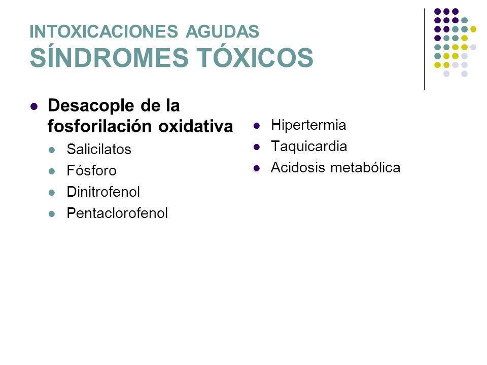INTOXICACIONES AGUDAS SÍNDROMES TÓXICOS Desacople de la fosforilación oxidativa Salicilatos Fósforo Dinitrofenol Pentaclorofenol Hipertermia Taquicard