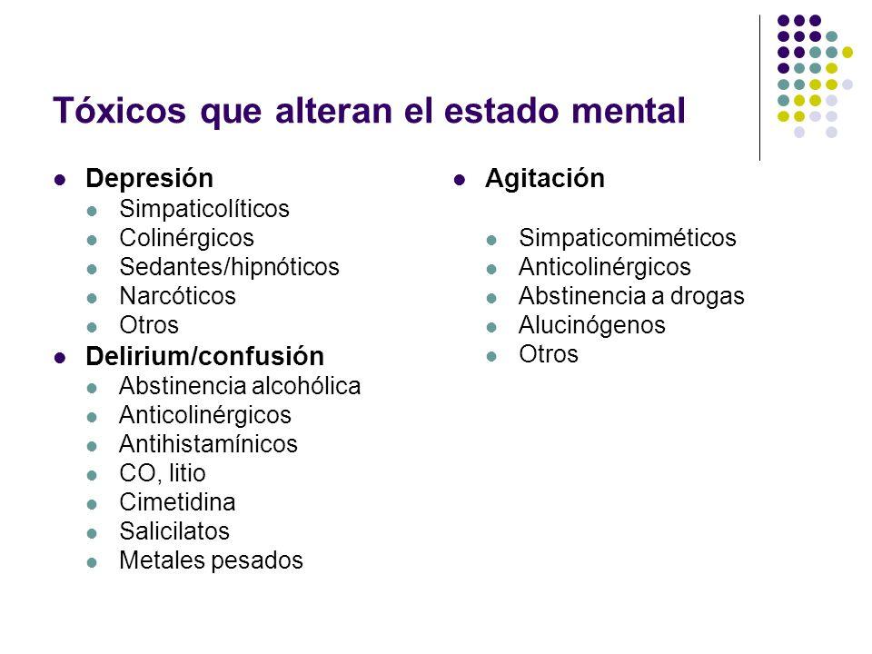 Tóxicos que alteran el estado mental Depresión Simpaticolíticos Colinérgicos Sedantes/hipnóticos Narcóticos Otros Delirium/confusión Abstinencia alcoh