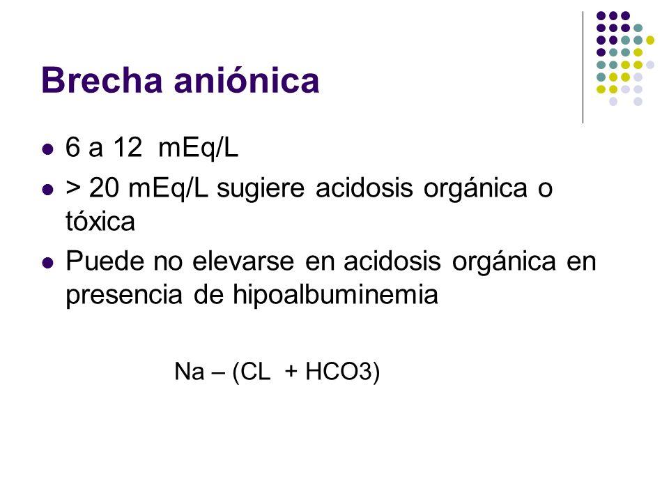 Brecha aniónica 6 a 12 mEq/L > 20 mEq/L sugiere acidosis orgánica o tóxica Puede no elevarse en acidosis orgánica en presencia de hipoalbuminemia Na –