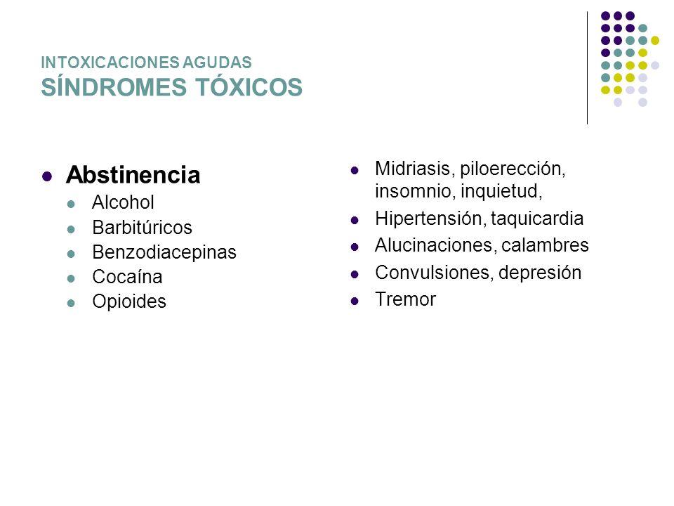 INTOXICACIONES AGUDAS SÍNDROMES TÓXICOS Abstinencia Alcohol Barbitúricos Benzodiacepinas Cocaína Opioides Midriasis, piloerección, insomnio, inquietud