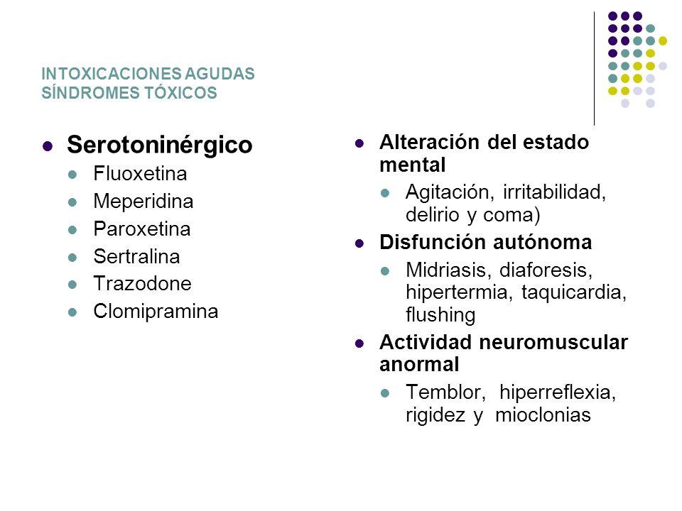 INTOXICACIONES AGUDAS SÍNDROMES TÓXICOS Serotoninérgico Fluoxetina Meperidina Paroxetina Sertralina Trazodone Clomipramina Alteración del estado menta