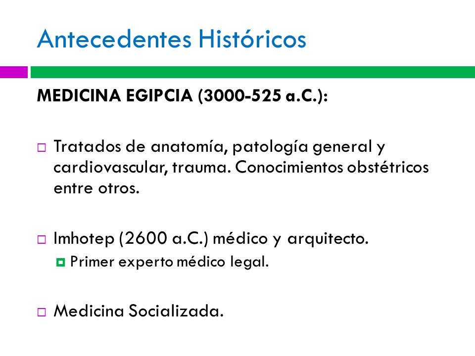 Antecedentes Históricos MEDICINA EGIPCIA (3000-525 a.C.): Tratados de anatomía, patología general y cardiovascular, trauma. Conocimientos obstétricos