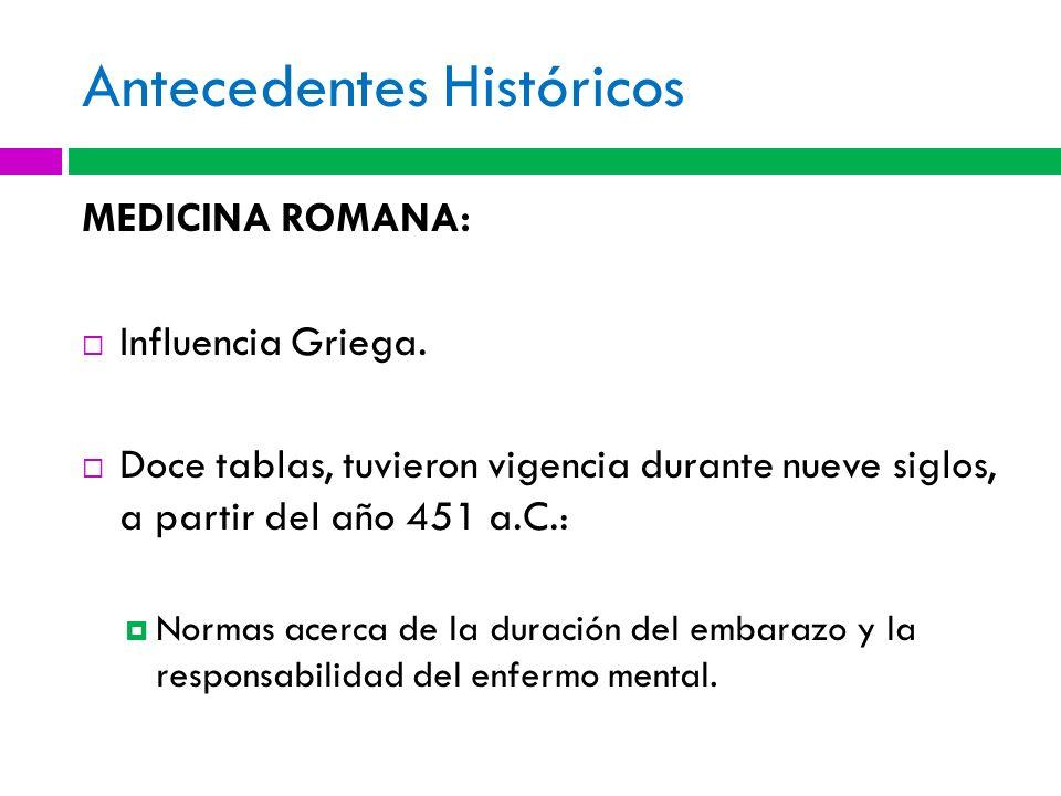 Antecedentes Históricos MEDICINA ROMANA: Influencia Griega. Doce tablas, tuvieron vigencia durante nueve siglos, a partir del año 451 a.C.: Normas ace