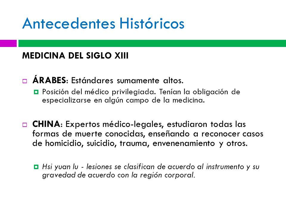 Antecedentes Históricos MEDICINA DEL SIGLO XIII ÁRABES: Estándares sumamente altos. Posición del médico privilegiada. Tenían la obligación de especial
