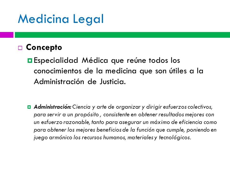 Medicina Legal Concepto Especialidad Médica que reúne todos los conocimientos de la medicina que son útiles a la Administración de Justicia. Administr