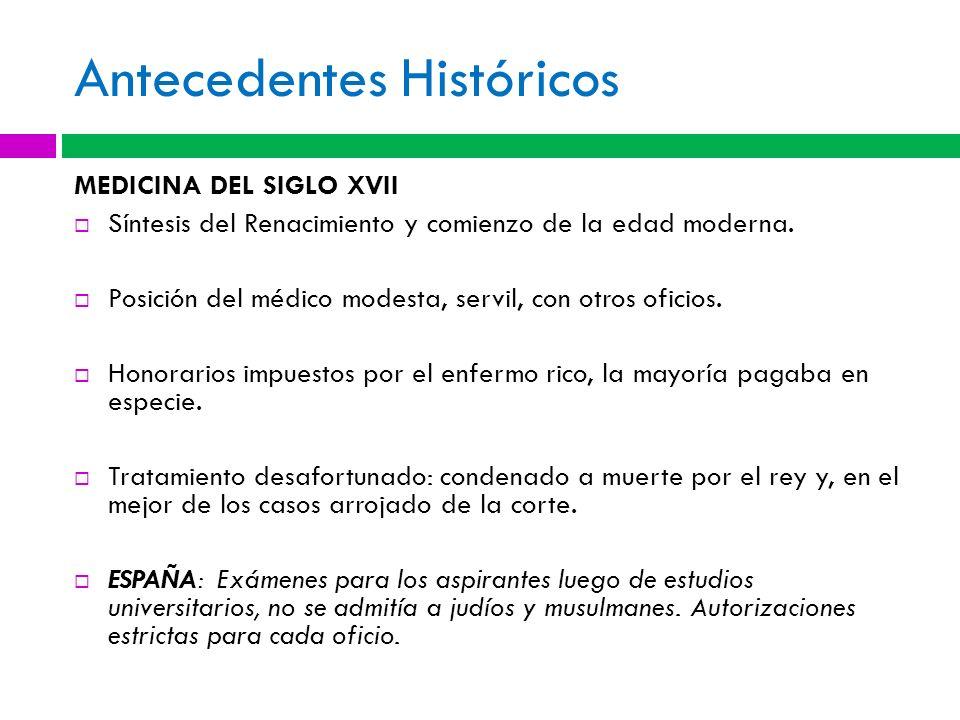 Antecedentes Históricos MEDICINA DEL SIGLO XVII Síntesis del Renacimiento y comienzo de la edad moderna. Posición del médico modesta, servil, con otro
