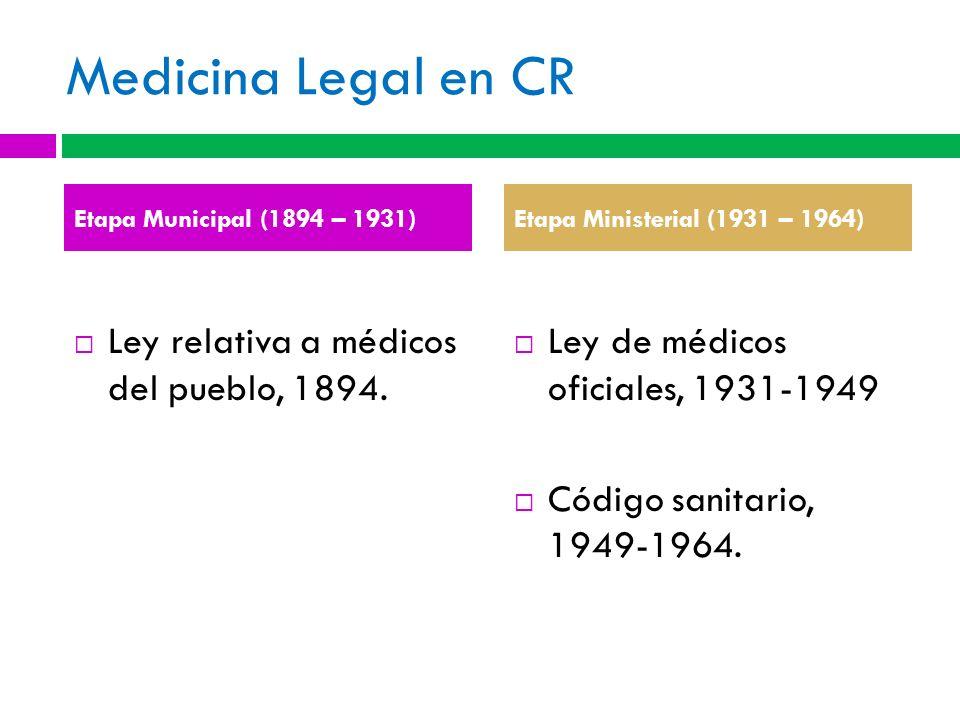 Medicina Legal en CR Ley relativa a médicos del pueblo, 1894. Ley de médicos oficiales, 1931-1949 Código sanitario, 1949-1964. Etapa Municipal (1894 –