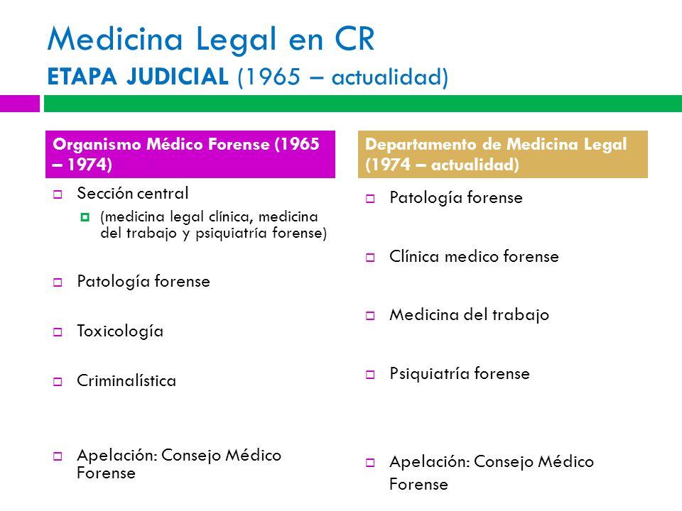Medicina Legal en CR ETAPA JUDICIAL (1965 – actualidad) Sección central (medicina legal clínica, medicina del trabajo y psiquiatría forense) Patología