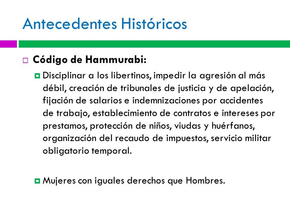 Antecedentes Históricos Código de Hammurabi: Disciplinar a los libertinos, impedir la agresión al más débil, creación de tribunales de justicia y de a