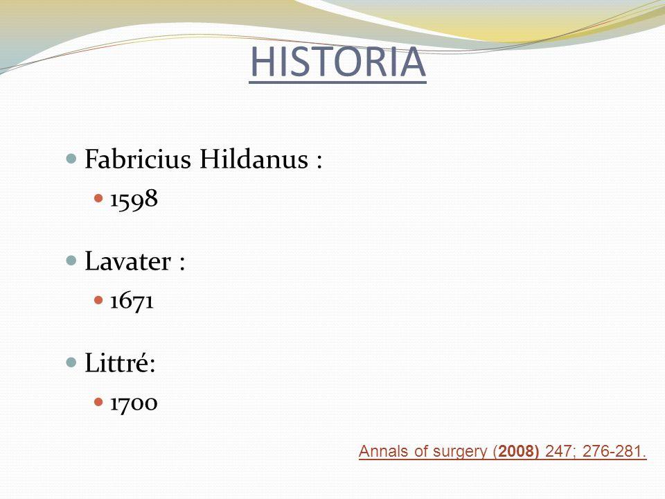 HISTORIA Fabricius Hildanus : 1598 Lavater : 1671 Littré: 1700 Annals of surgery (2008) 247; 276-281.