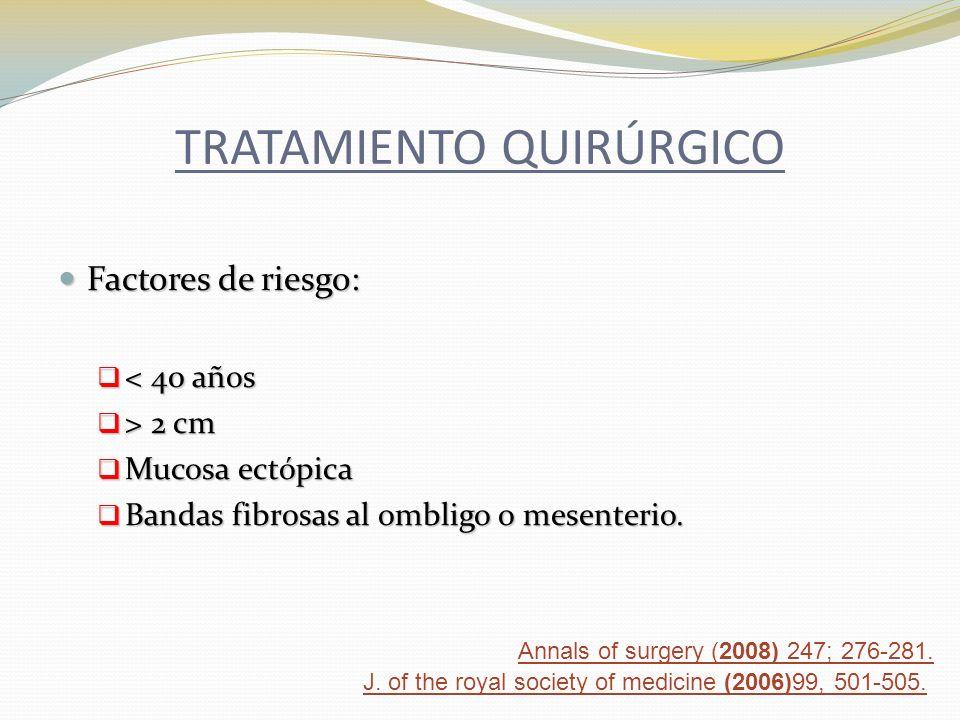 TRATAMIENTO QUIRÚRGICO Factores de riesgo: Factores de riesgo: < 40 años < 40 años > 2 cm > 2 cm Mucosa ectópica Mucosa ectópica Bandas fibrosas al om