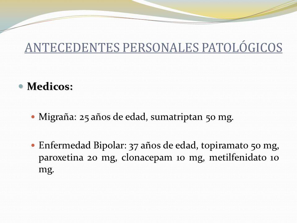 Médicos: HAS: 54 años de edad, captopril 25 mg.