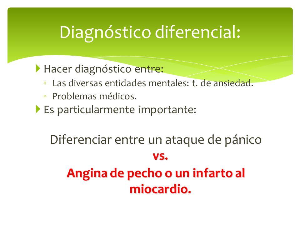 Hacer diagnóstico entre: Las diversas entidades mentales: t. de ansiedad. Problemas médicos. Es particularmente importante: vs. Diferenciar entre un a
