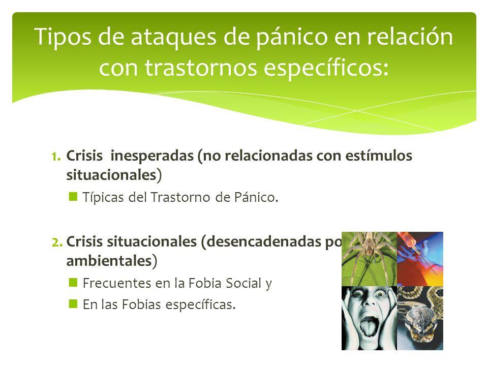 1.Crisis inesperadas (no relacionadas con estímulos situacionales) Típicas del Trastorno de Pánico. 2.Crisis situacionales (desencadenadas por estímul