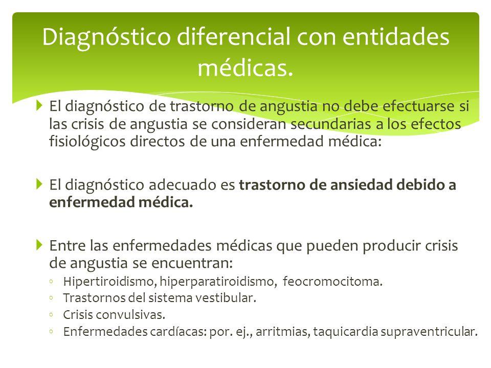El diagnóstico de trastorno de angustia no debe efectuarse si las crisis de angustia se consideran secundarias a los efectos fisiológicos directos de