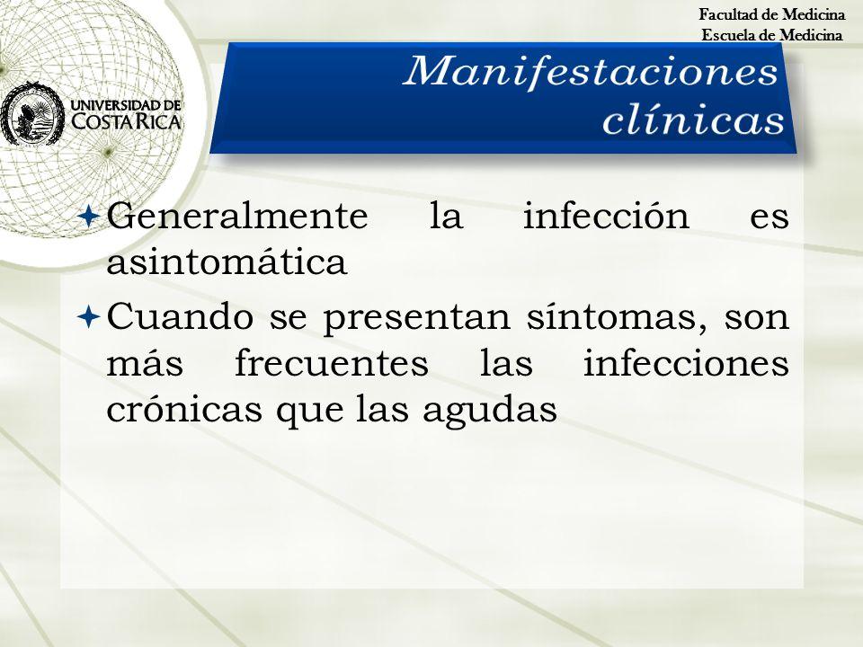 Generalmente la infección es asintomática Cuando se presentan síntomas, son más frecuentes las infecciones crónicas que las agudas Facultad de Medicin