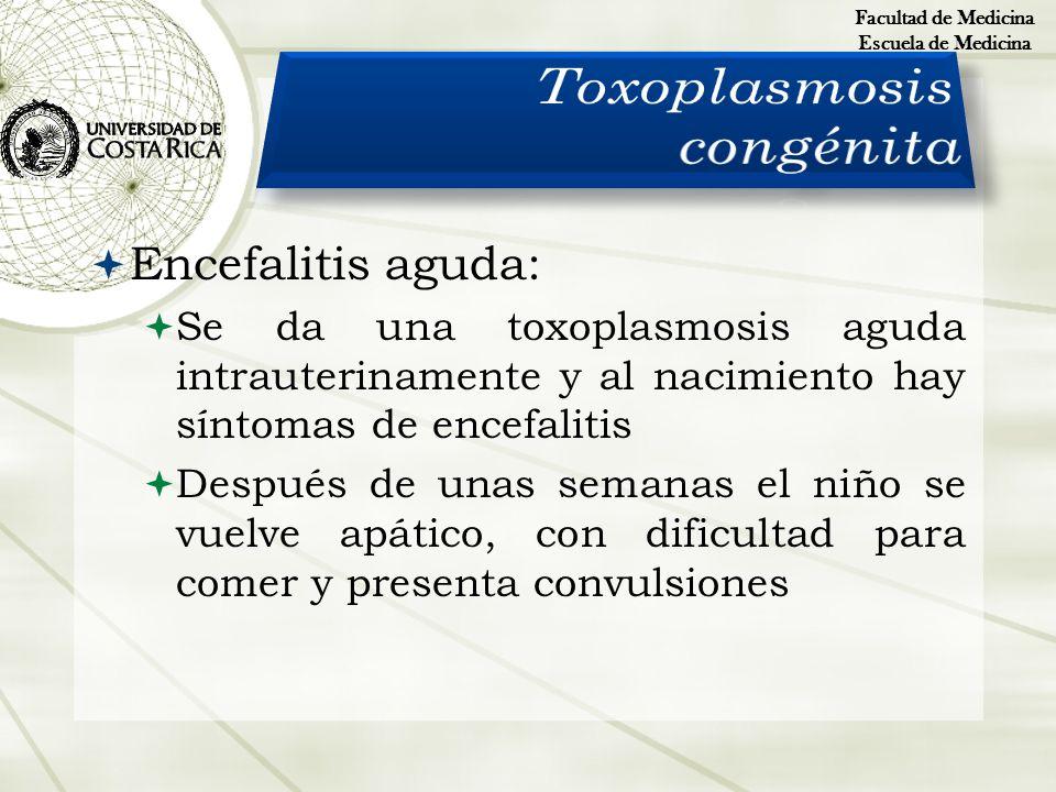 Encefalitis aguda: Se da una toxoplasmosis aguda intrauterinamente y al nacimiento hay síntomas de encefalitis Después de unas semanas el niño se vuel