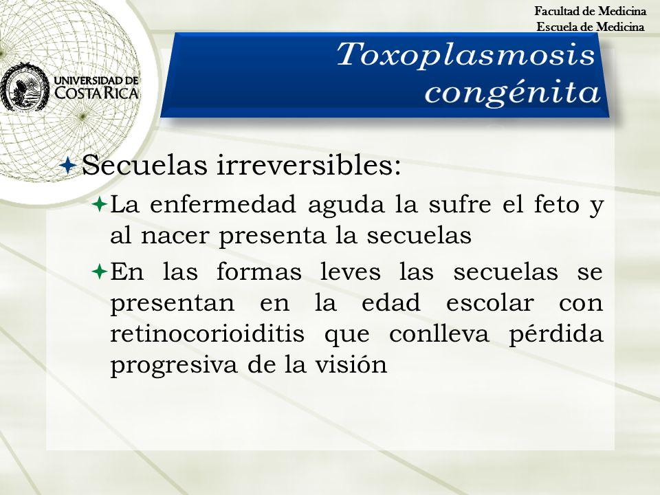 Secuelas irreversibles: La enfermedad aguda la sufre el feto y al nacer presenta la secuelas En las formas leves las secuelas se presentan en la edad