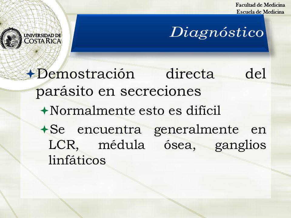 Demostración directa del parásito en secreciones Normalmente esto es difícil Se encuentra generalmente en LCR, médula ósea, ganglios linfáticos Facult