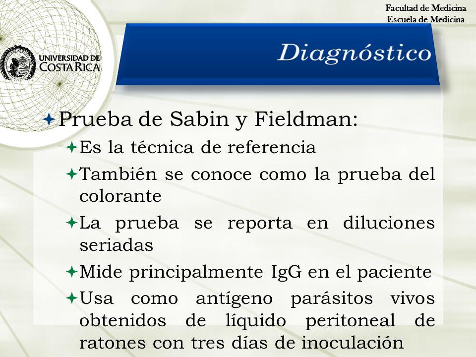 Prueba de Sabin y Fieldman: Es la técnica de referencia También se conoce como la prueba del colorante La prueba se reporta en diluciones seriadas Mid