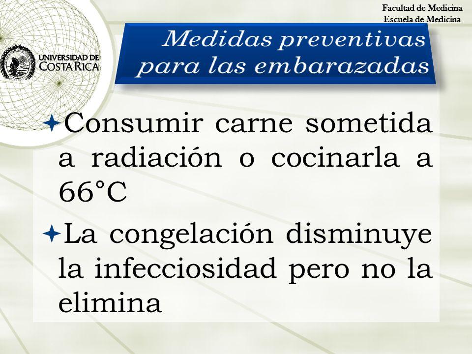 Consumir carne sometida a radiación o cocinarla a 66°C La congelación disminuye la infecciosidad pero no la elimina Facultad de Medicina Escuela de Me