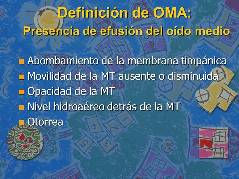 Definición de OMA: Presencia de efusión del oído medio n Abombamiento de la membrana timpánica n Movilidad de la MT ausente o disminuida n Opacidad de