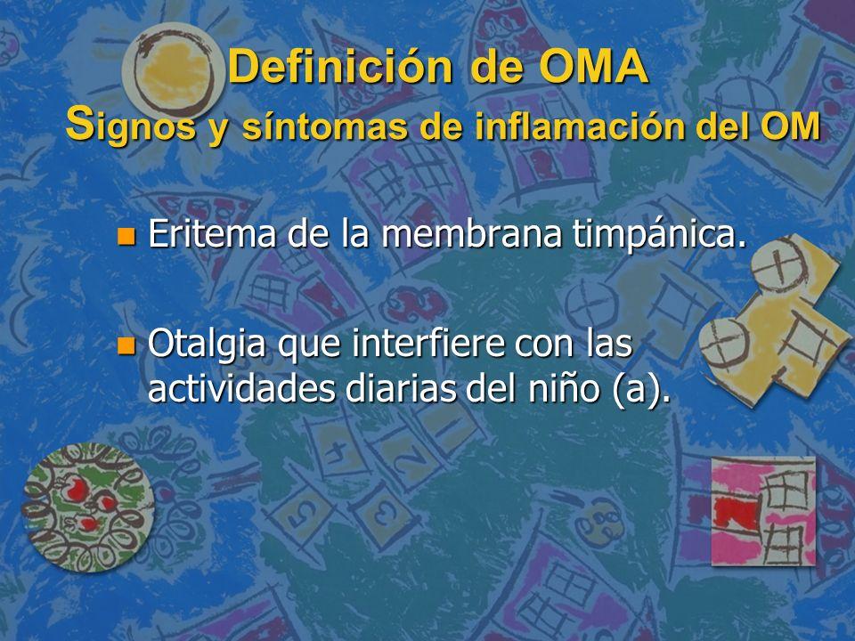 Definición de OMA S ignos y síntomas de inflamación del OM Definición de OMA S ignos y síntomas de inflamación del OM n Eritema de la membrana timpáni