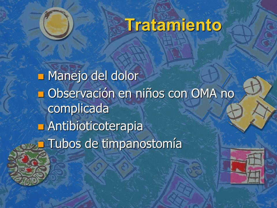 Tratamiento n Manejo del dolor n Observación en niños con OMA no complicada n Antibioticoterapia n Tubos de timpanostomía