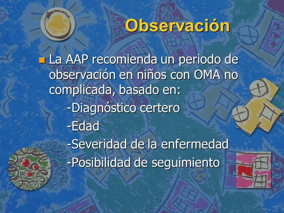 Observación n La AAP recomienda un periodo de observación en niños con OMA no complicada, basado en: -Diagnóstico certero -Edad -Severidad de la enfer