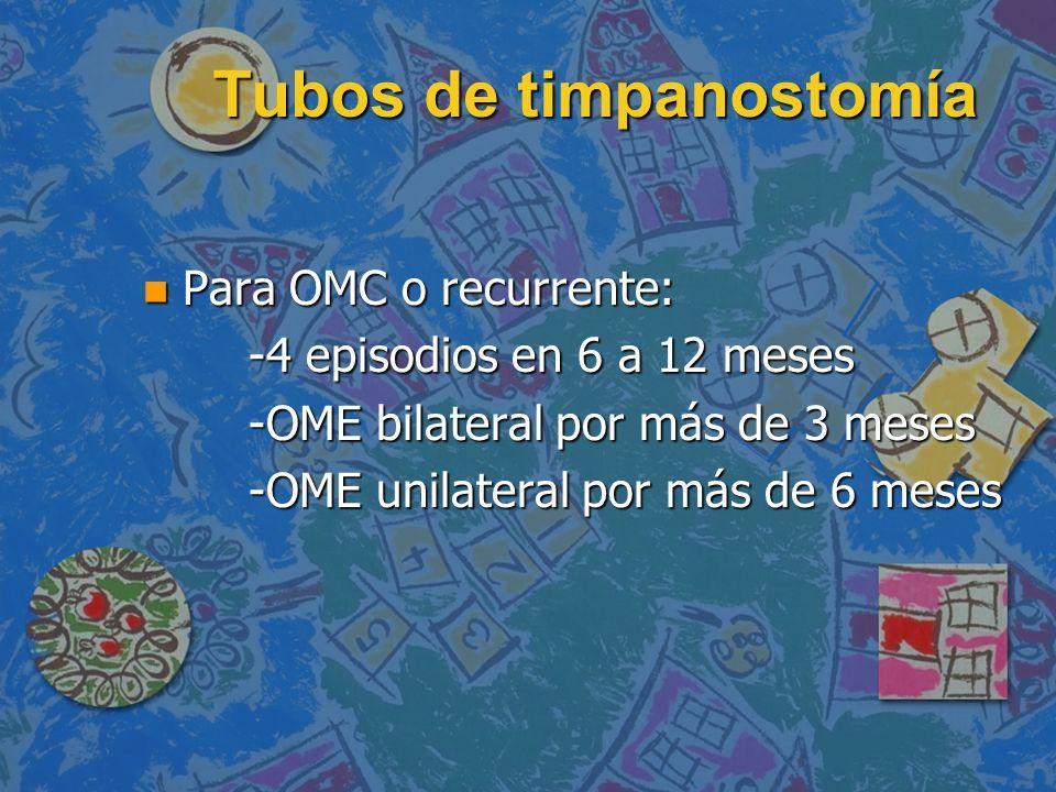 Tubos de timpanostomía n Para OMC o recurrente: -4 episodios en 6 a 12 meses -OME bilateral por más de 3 meses -OME unilateral por más de 6 meses