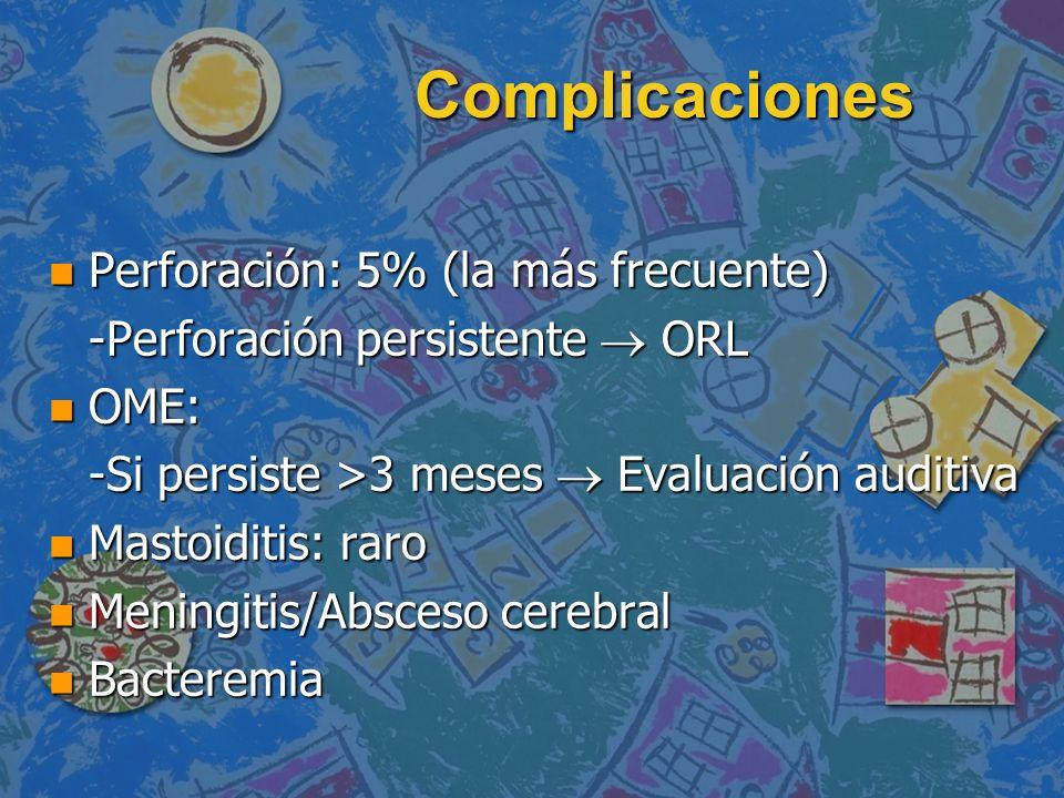 Complicaciones n Perforación: 5% (la más frecuente) -Perforación persistente ORL n OME: -Si persiste >3 meses Evaluación auditiva n Mastoiditis: raro