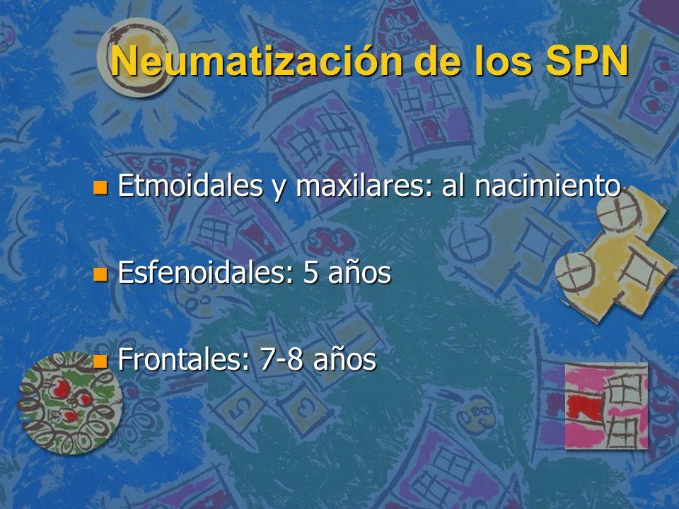 Neumatización de los SPN n Etmoidales y maxilares: al nacimiento n Esfenoidales: 5 años n Frontales: 7-8 años
