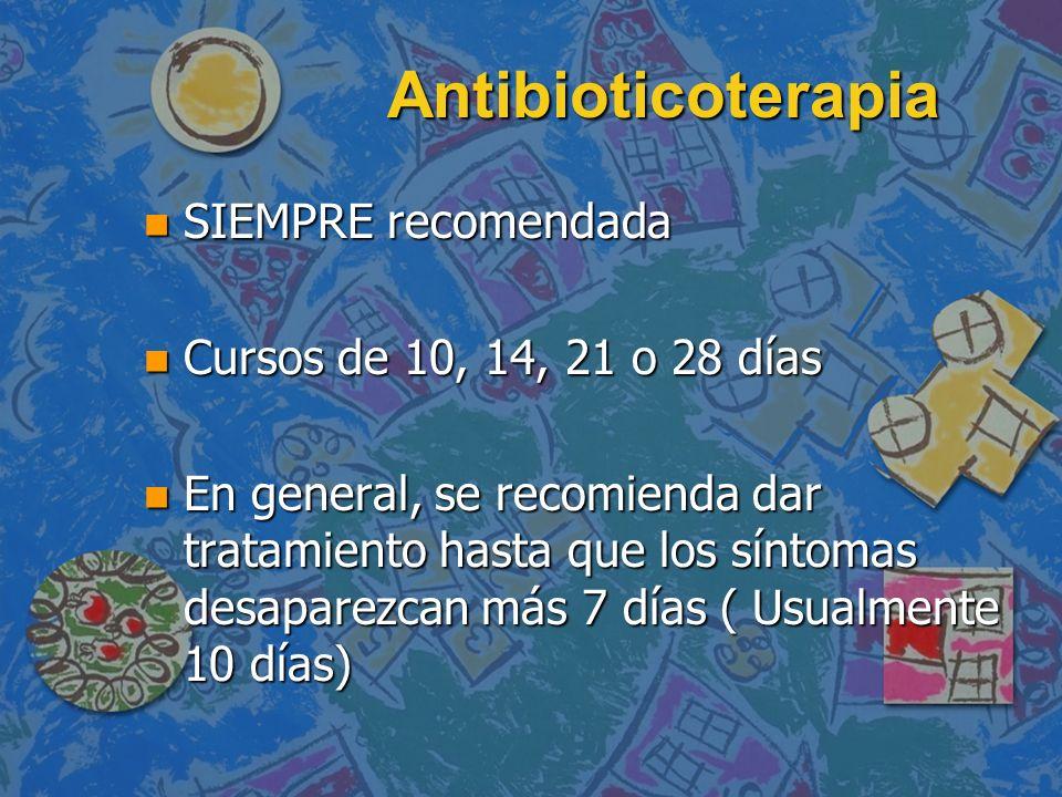 Antibioticoterapia n SIEMPRE recomendada n Cursos de 10, 14, 21 o 28 días n En general, se recomienda dar tratamiento hasta que los síntomas desaparez