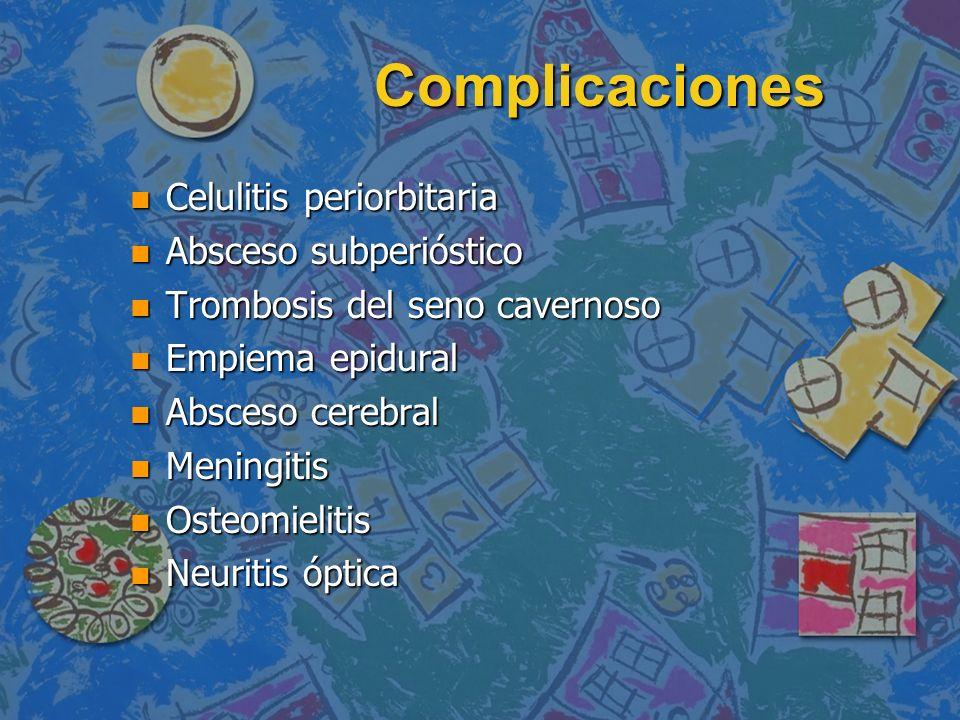 Complicaciones n Celulitis periorbitaria n Absceso subperióstico n Trombosis del seno cavernoso n Empiema epidural n Absceso cerebral n Meningitis n O