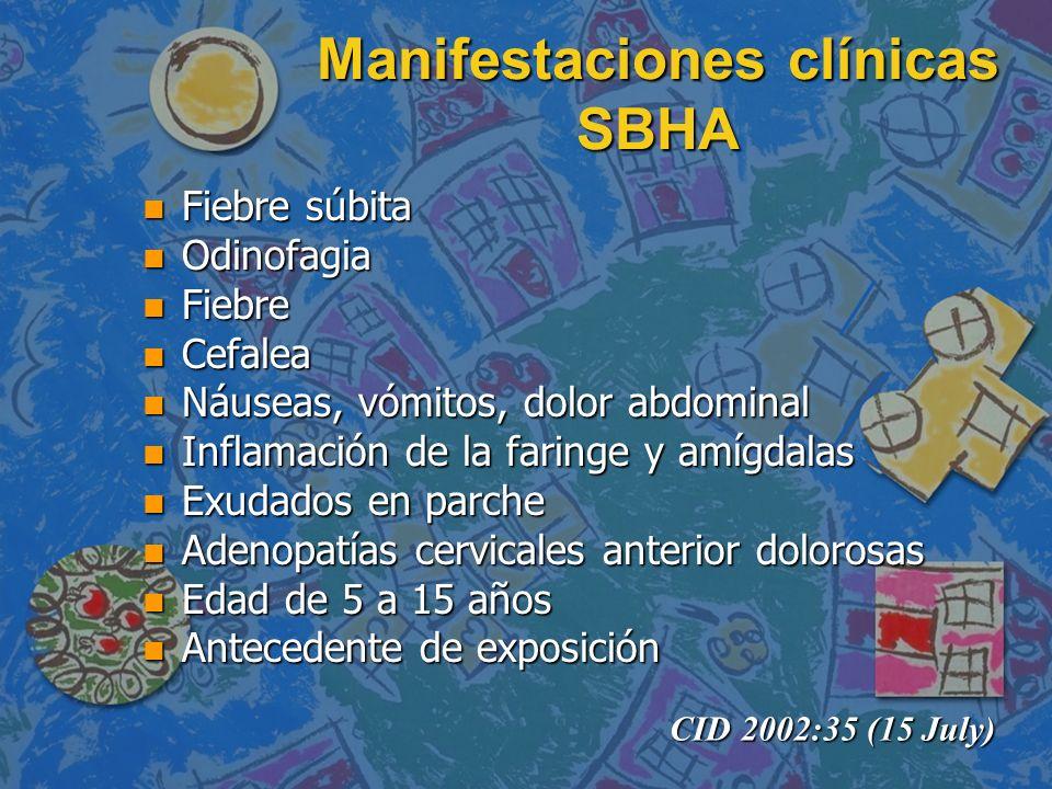 Manifestaciones clínicas SBHA n Fiebre súbita n Odinofagia n Fiebre n Cefalea n Náuseas, vómitos, dolor abdominal n Inflamación de la faringe y amígda