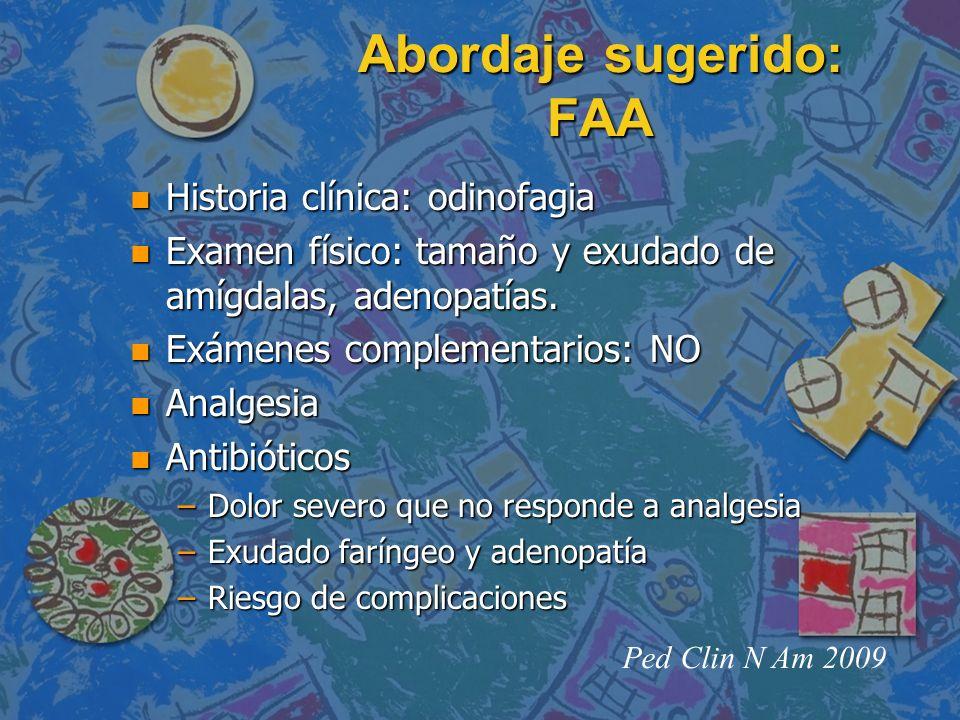 Abordaje sugerido: FAA n Historia clínica: odinofagia n Examen físico: tamaño y exudado de amígdalas, adenopatías. n Exámenes complementarios: NO n An