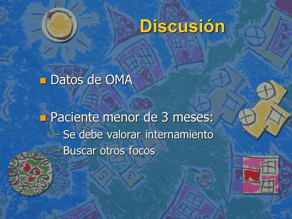 Discusión n Datos de OMA n Paciente menor de 3 meses: –Se debe valorar internamiento –Buscar otros focos