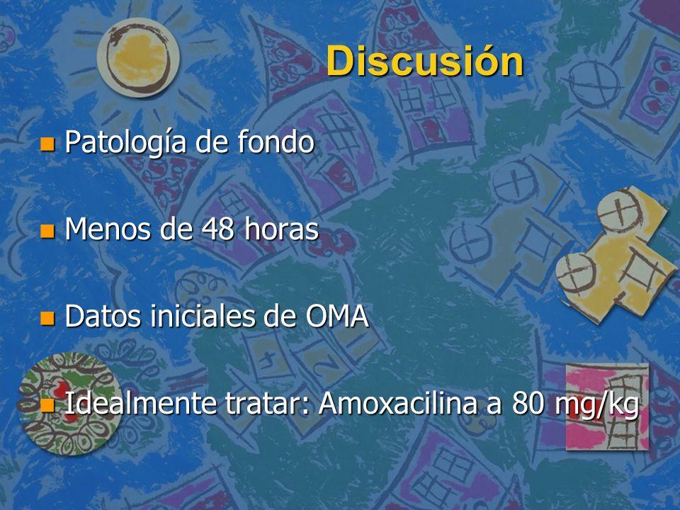 Discusión n Patología de fondo n Menos de 48 horas n Datos iniciales de OMA n Idealmente tratar: Amoxacilina a 80 mg/kg